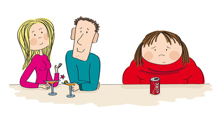 Young dating couple sitting in the bar, drinking cocktail. Fat woman sitting next to them with coke in front of her, feeling sad and alone. Original hand drawn illustration.