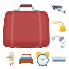 Hotel and equipment cartoon icons in set collection for design. Hotel and comfort vector symbol stock web illustration.