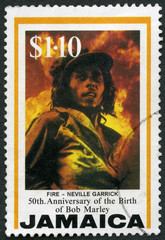 JAMAICA - 1995: shows portrait of Robert Nesta Bob Marley (1945-1981), Fire, by Neville Garrick, Reggae Musician