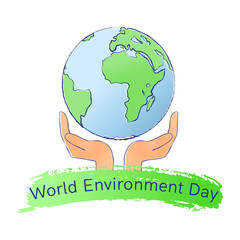 World Environment Day logo with earth and hands.Isolated on white background. Vector illusrtation
