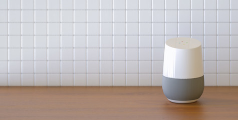 smart speaker in the kitchen with copy space for individual text