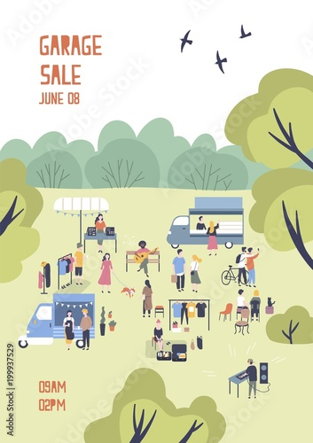 modern flyer or poster template for garage sale or outdoor festival