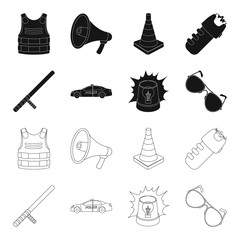 Police baton, auto, flasher, glasses.Police set collection icons in black,outline style vector symbol stock illustration web.