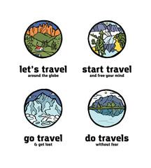 Traveling logo set