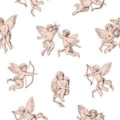 Seamless pattern Cupids holding bows and shooting arrows on white background. Backdrop with pink cute angels, gods of romantic love and passion. Vector illustration for textile print, wrapping paper.