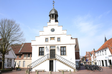 Fotorolgordijn Artistiek mon. The historic City Hall of Lingen (Ems) in Emsland, Lower Saxony, Germany