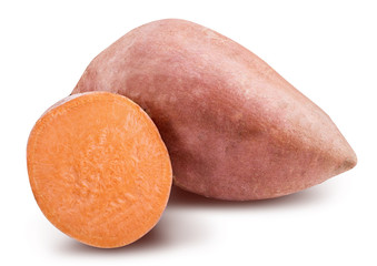 Sweet potato isolated with shadow on white background