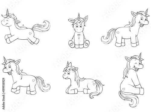cute unicorn coloring page collection\