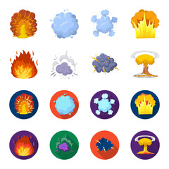 Flame, sparks, hydrogen fragments, atomic or gas explosion. Explosions set collection icons in cartoon,flat style vector symbol stock illustration web.