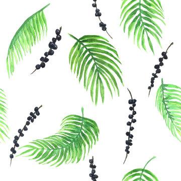 Watercolor pattern of acai palm