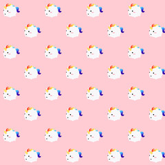 Pattern of an illustration of a kawaii cute fat unicorn with rainbow colored horsehair running happily over a pink background.