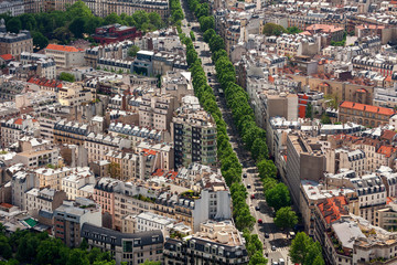 Aerial view of typical parisian district.