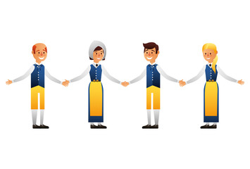 Swedish group people with typical costume vector illustration design