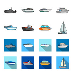 Protection boat, lifeboat, cargo steamer, sports yacht.Ships and water transport set collection icons in cartoon,flat style vector symbol stock illustration web.