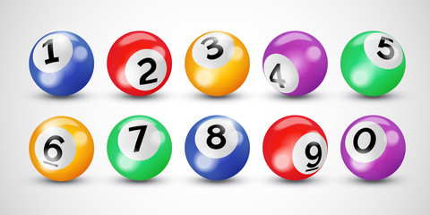 Bingo lottery balls with numbers for keno lotto or billiard snooker game on vector transparent background