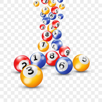 Bingo lottery 3d balls for keno lotto on vector transparent background