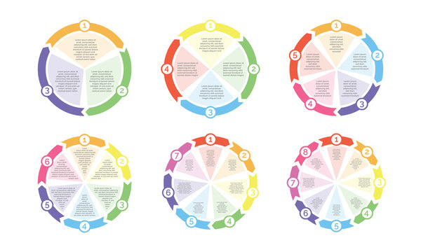 Circle flowchart diagram of cycle chart arrows with numbers vector icon for presentation