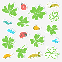 Sticker set with clover leaves and insects. Collection with cute bugs, ladybirds, dragonfly, caterpillar.