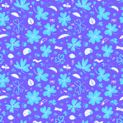 Background with clover leaves and insects. Seamless pattern with cute bugs, ladybirds, dragonfly, caterpillar.