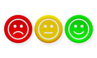 Face smile icon positive, negative opinion vector buttons