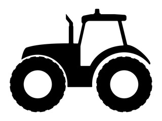 Tractor silhouette on a white background. Wall mural