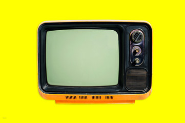 Old vintage tv on color background. retro technology. Retro television vin