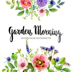 Lovely floral watercolor background border frame