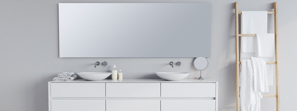 new modern bathroom with a font mirror. 3d rendering