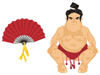 Sumo, wrestler, sportsman, sport, Japan, man, fat, evil, angry, sit, naked, cartoon, illustration, fight, fan