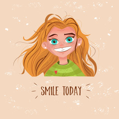 Character cute girl with red hair card smile today