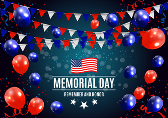 Memorial Day in USA Background Template Vector Illustration