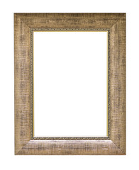 Gold vintage picture frame isolated
