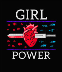 Girl Power - Feminism slogan, Rock print embroidery for T-shirt, fashion patch or badge. Embroidery for rock girl gang. Sword pierces the heart. Pin or patches in vintage punk style. Vector