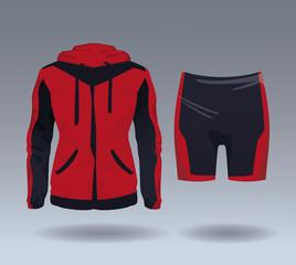 Fitness sport wear jacket and short for female vector illustration graphic design