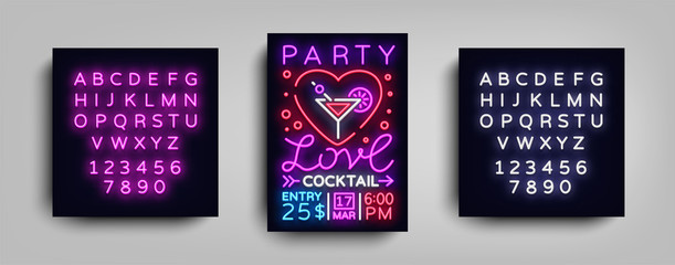 Cocktail party poster vector template. Love Cocktail party, Poster neon, Neon sign, Light banner, bright invitation, nightlife brochure, typography, postcard to Valentines day. Editing text neon sign