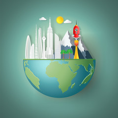 Eco buildings cityscape and red rocket launch on green hemisphere world as nature, saving, earth day, start up and paper art style concept. vector illustration.