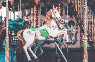 An old fashioned carousel in Nice, France.