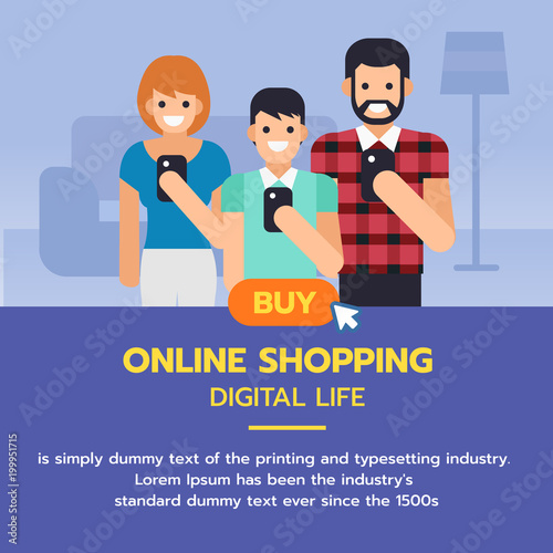 Online shopping banner  Family using smartphone to shopping, online