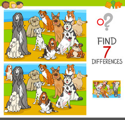 find differences game with dog animal characters