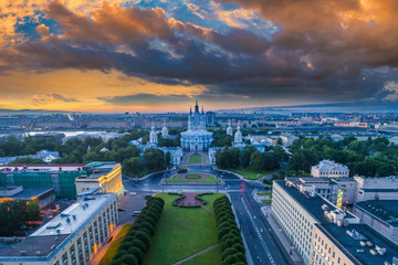 Morning in Petersburg. Museums of Russia. Panorama of St. Petersburg. Petersburg from the heights. Smolny Cathedral. Panorama of Russian cities. Architecture of Petersburg.