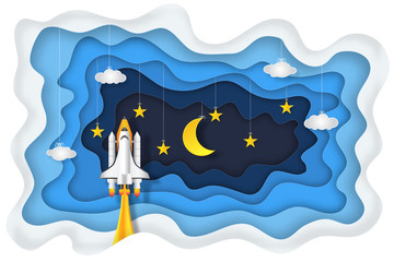 Origami layer skyscape of rocket launch , half moon, stars and clouds in the night as paper art, craft style and start up concept. vector illustrator.