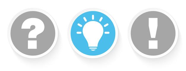 3 Buttons Question, Idea & Answer Grey/Blue