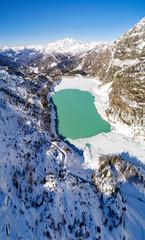 Valmalenco (IT) - Diga di Campo Moro - Vista aerea invernale