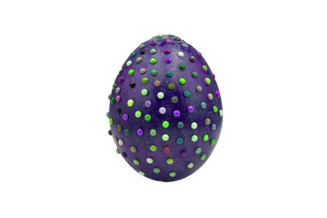 One marble textured stone epensive violet and fashionable easter egg on a gold stand for easter holidays. Perfect for a designer eastern table or setup.