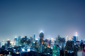 night cityscape downtown modern view Bangkok Thailand