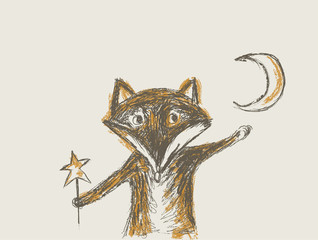 small fax holds star and moon, drawing like pencil scratch,
