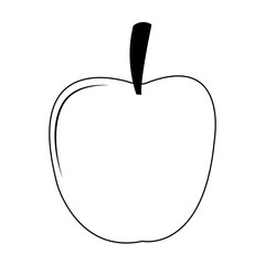 Apple fruit cartoon on black and white colors vector illustration