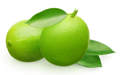 Whole fresh lime fruit next to lying and green leaves
