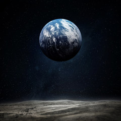 Wall Mural - The Earth from moon surface. Elements of this image furnished by NASA.