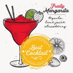 Cocktail margarita for bar menu. Vector drink flyer for restaurant and cafe. Design poster with vintage hand-drawn illustrations.